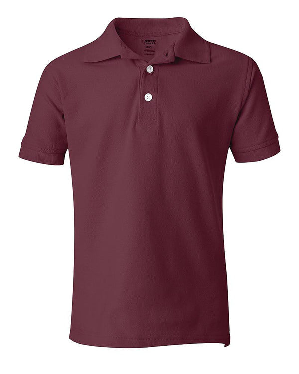 School Uniform Unisex Short Sleeve Pique Knit Shirt By French Toast, Burgundy 31937-8