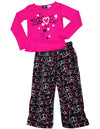 Fun Kidz - Little Girls' Long Sleeve Scribble Love Pajamas