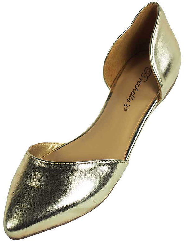 Breckelles Womens Faux Leather D'Orsay Pointed Toe Flats