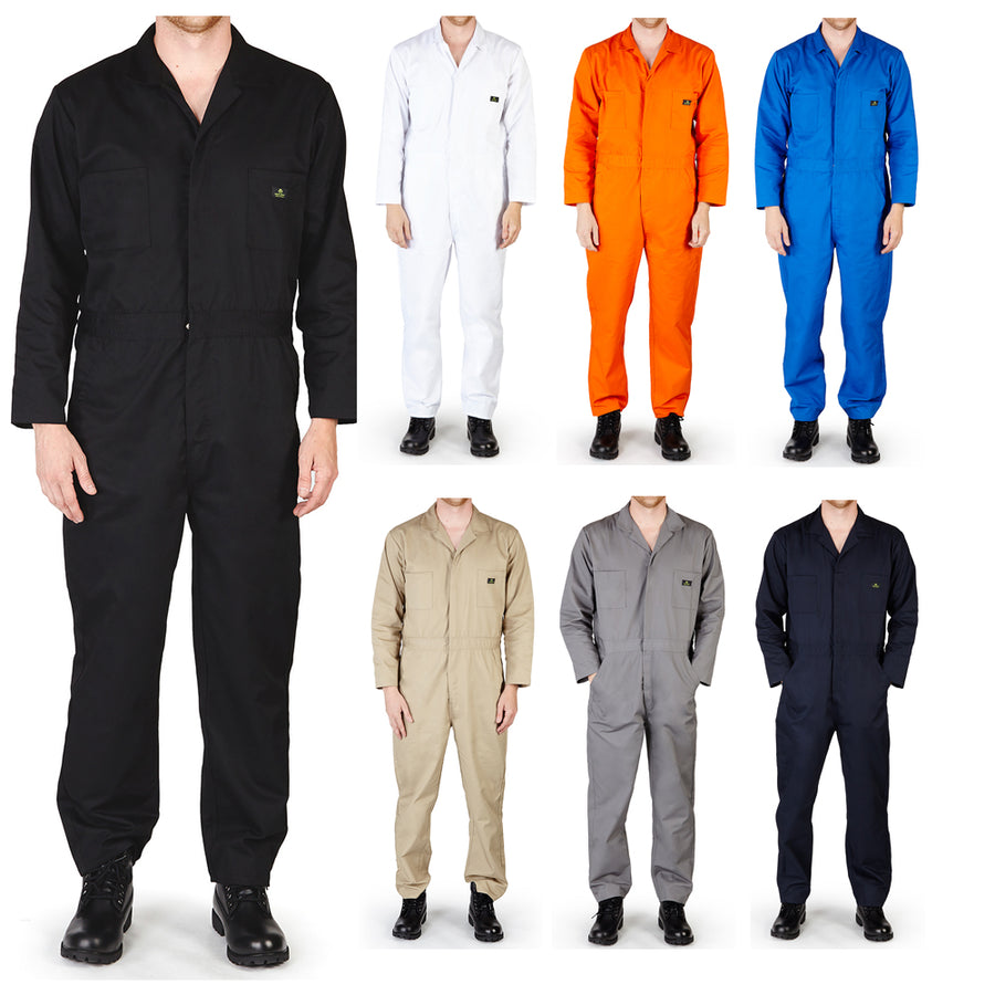 62cee839 Natural Workwear Mens Long Sleeve Basic Blended Work Coverall XS - 4XL  Order 1 Size Bigger
