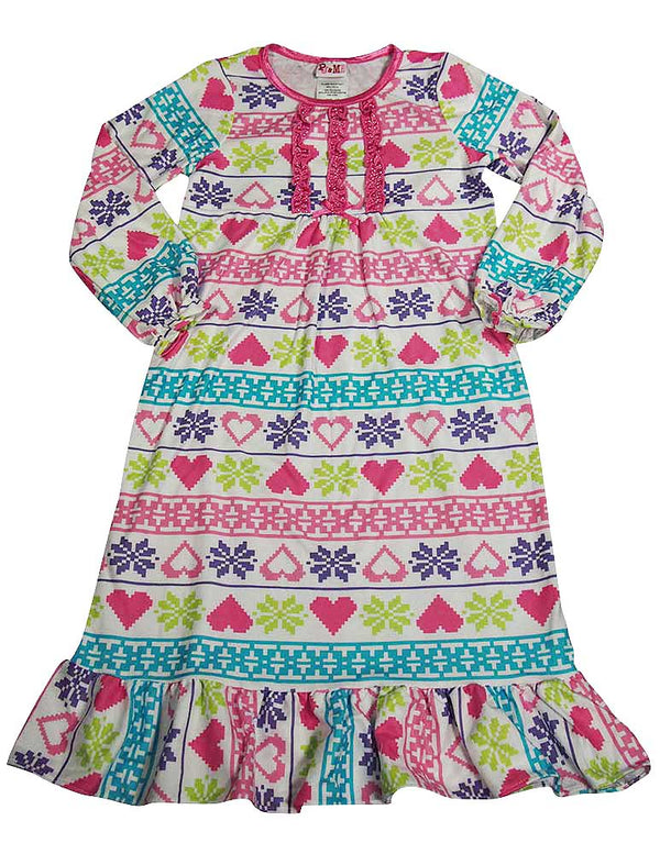 PJ & Me - Little Girls Long Sleeve Holiday Nightgown