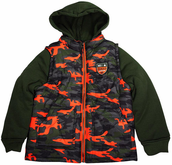 iXtreme - Big Boys Hooded Mock Camo Vest Winter Jacket