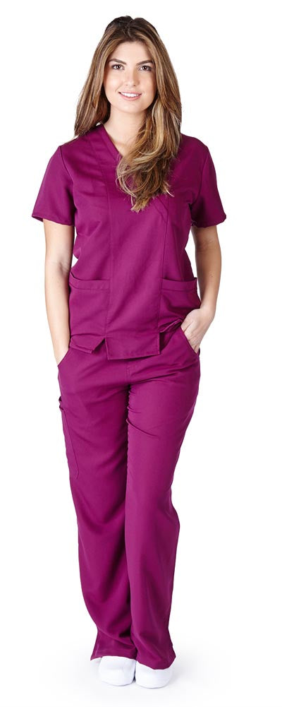 UltraSoft Premium 2 Pocket Cross Over Tunic Medical Scrub Set For Women - JUNIOR FIT
