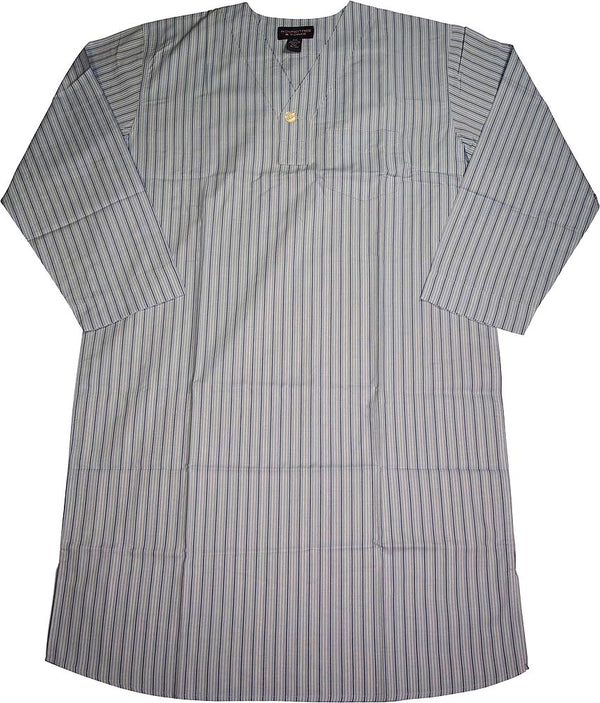 Roundtree & York - Mens Long Sleeve Broadcloth Night Shirt Gown