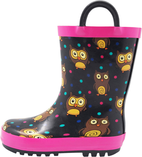 Norty Toddlers Kids Boys Girls Waterproof Rubber Printed Rain Boots -13 Patterns, 40133