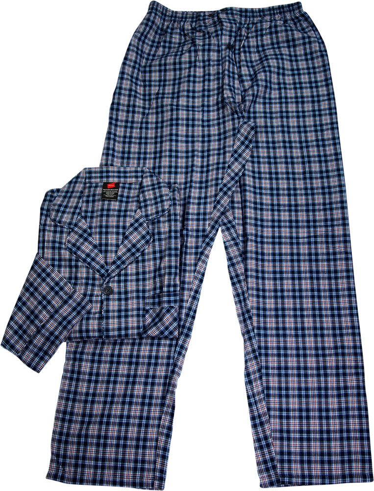 c0012b653690 Hanes Men s Woven Cotton Blend Long Sleeve Plaid Sleepwear Pajama ...