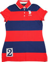 U.S. Polo Assn Women's Junior Fit Short Sleeve Striped Rugby Polo T Shirt, 40540