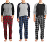 Hanes Men's Big Long Sleeve X-Temp Top and Plaid Microfleece Pant Sleep Set, 41491