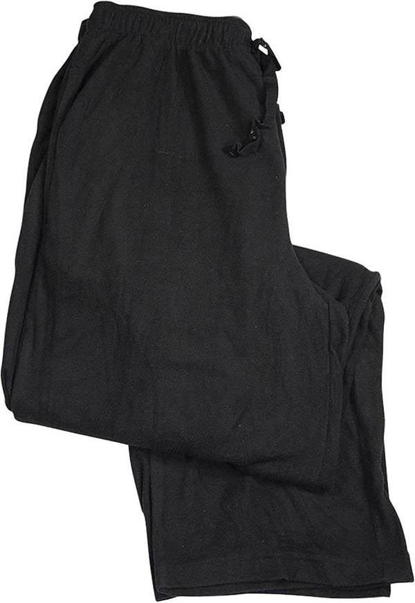 Perry Ellis Sleepwear Men's Solid Drawstring Fleece Pajama Pants, Black