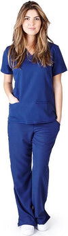 UltraSoft Premium Classic 3 Pocket V-Neck Medical Scrub Set For Women - JUNIOR FIT