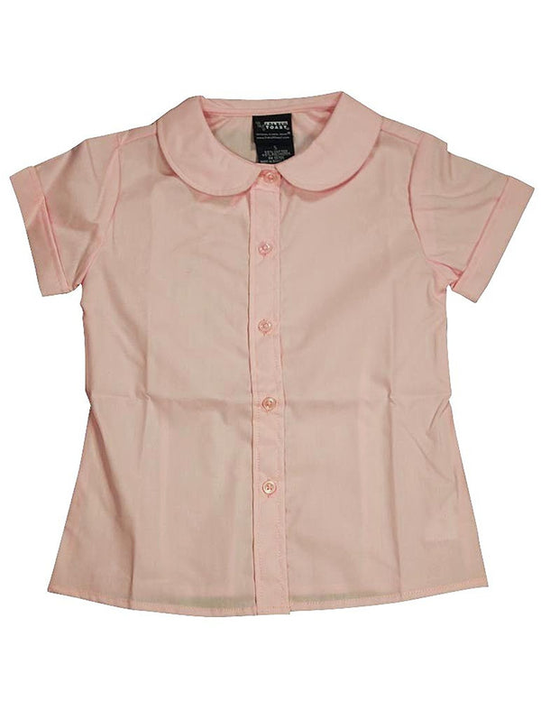 French Toast - Big Girls' Short Sleeve Peter Pan Blouse, Pink 33153-20