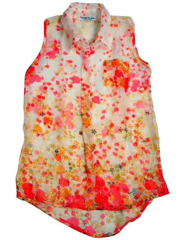 Flowers by Zoe - Big Girls' Sleeveless Floral Button Down Blouse
