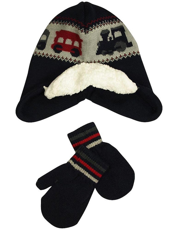 Winter Warm-Up - Little Boys Hat and Mitten Set Fits 2-4