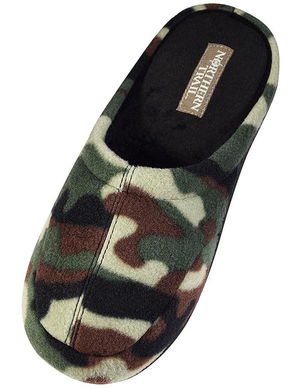 Northern Tree - Mens Moccasin Fleece Camo Clog Slipper