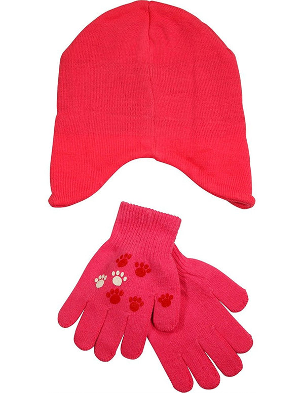 Winter Warm-Up - Little Girls' Cat Hat and Glove Set Fits Size 4-7