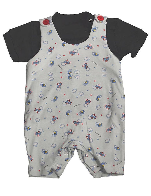 Snopea - Baby Boys Puffs In The Sky Shortall, White, Black 29677-12Months