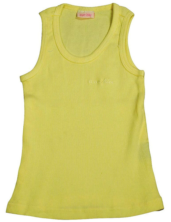 Ave.blu - Little Girls' Ribbed Tank Top with Emboidered Logo