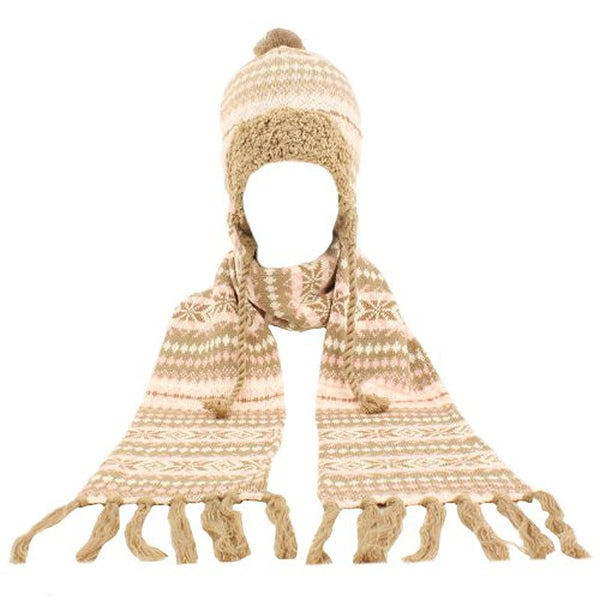 Winter Warm-Up Lined Snowflake Knit Big Girls' Hat Scarf Set