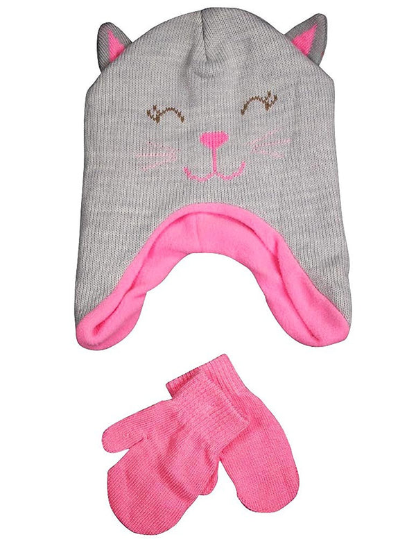 Winter Warm-Up - Little Girls Hat and Mitten Set Fits 2-4
