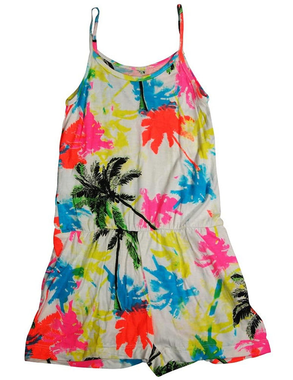 Flowers by Zoe - Girls' Spaghetti Strap Tank Romper - Choose from 5 Prints