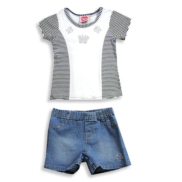 Lipstik - Little Girls' Short Sleeve Jean Short Set
