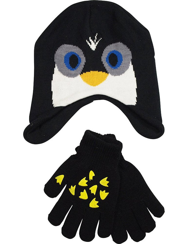 Winter Warm-Up - Little Boys Penguin Hat and Glove Set Fits Size 4-7