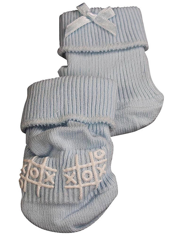 Tic Tac Toe - Baby Boys Ribbed Bootie Sock