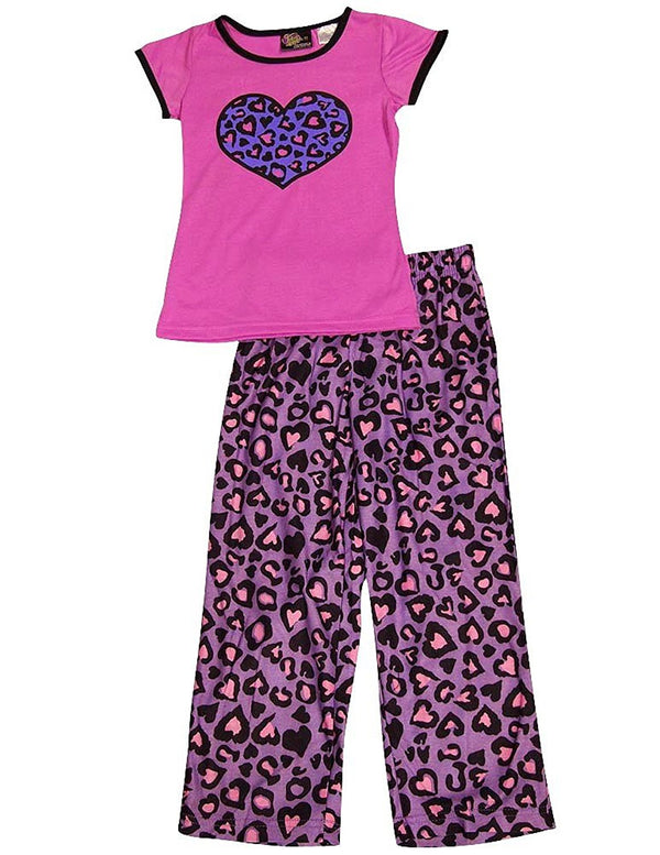 Fancy Girlz - Little Girls' Short Sleeve Leopard Hearts Pajamas