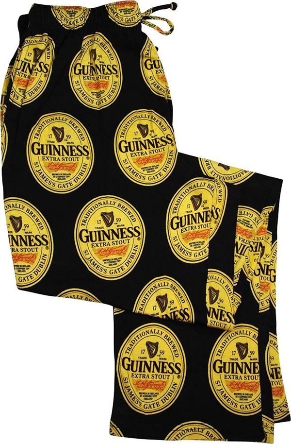 Guinness Men's Sleep Pajama Pants Bottoms Black