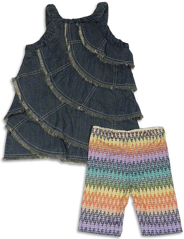 Hannah Banana by Sara Sara - Little Girls Sleeveless Jean Short Set