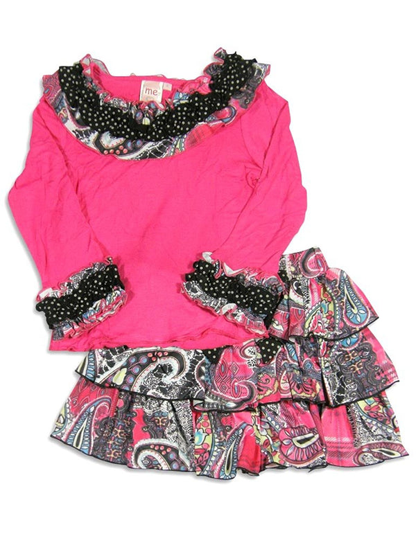 Me Me Me by Lipstik - Little Girls Long Sleeve Paisley Skirt Set