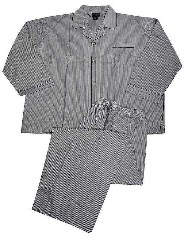 Botony 500 - Mens Big Long Sleeve Striped Broadcloth Pajama