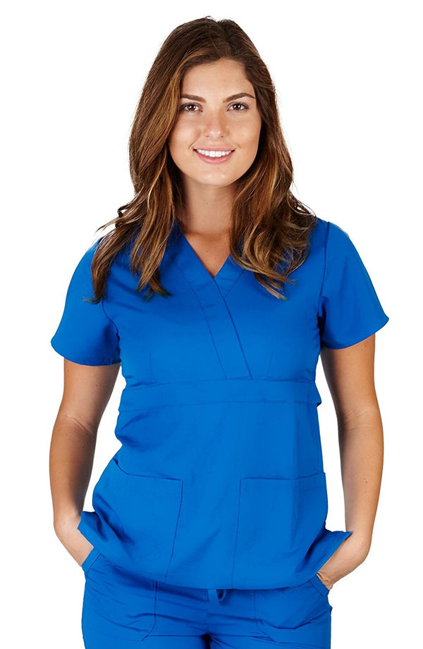 UltraSoft Premium 3 Pocket Mock Wrap Medical Scrub Top For Women - JUNIOR FIT
