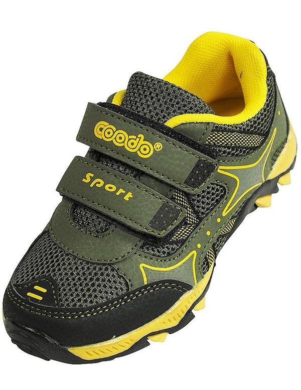 Coodo - Boy's Athletic Velcro Strap Light Weight Running Sneakers Shoes, Khaki, Yellow 38378-12MUSLittleKid