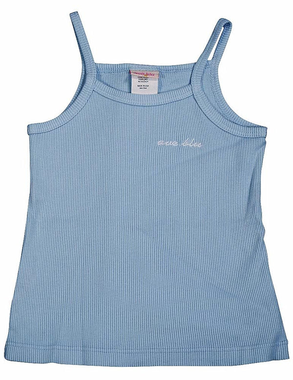 Ave.blu - Little Girls' Ribbed String Tank Top with Emboidered Logo
