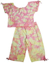 Peanut Bunch Little Girls Tie Dye Short Sleeve Capri Pant Set, 9299
