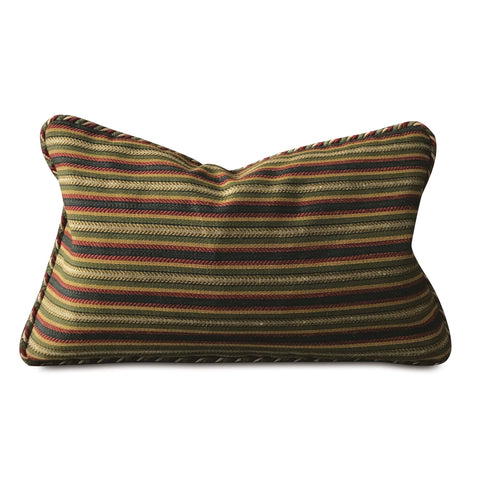 "Multicolored Woven Striped Lumbar Pillow Cover 13""x22"""