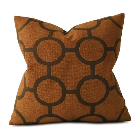 Mid Century Rust Orange Geometric Decorative Pillow Cover