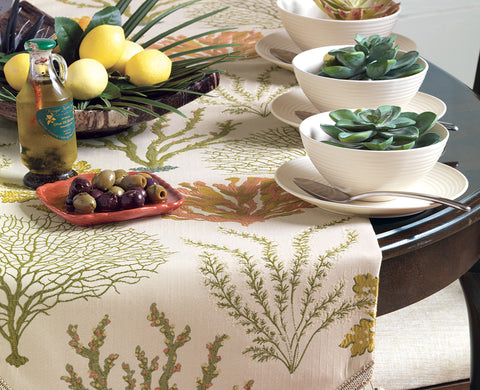 "Summer Home Embroidered Botanical Table Runner 15"" x 72"""
