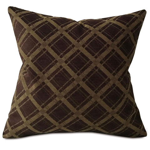 "Dark Brown Modern Geometric Throw Pillow Cover 22""x22"""