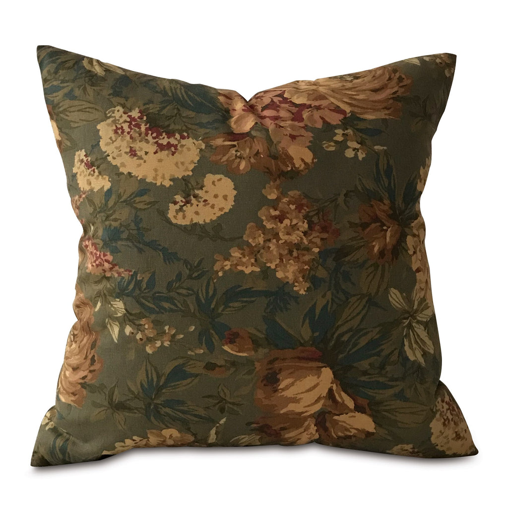 "Shabby Chic Antique Floral Throw Pillow Cover 20""x20"""