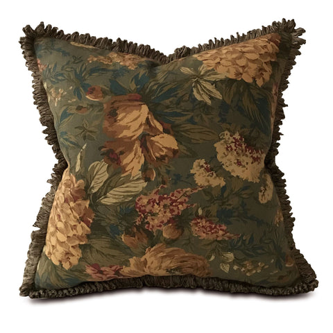 "Shabby Chic Antique Floral Throw Pillow Cover with Brush Fringe 20""x20"""