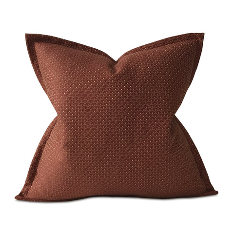 "Burgundy and Gold French Geometric Euro Sham Cover 26""x26"""