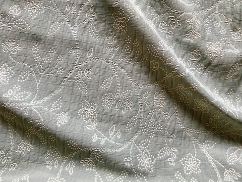 Gray Embroidered Floral Upholstery Fabric - 54""