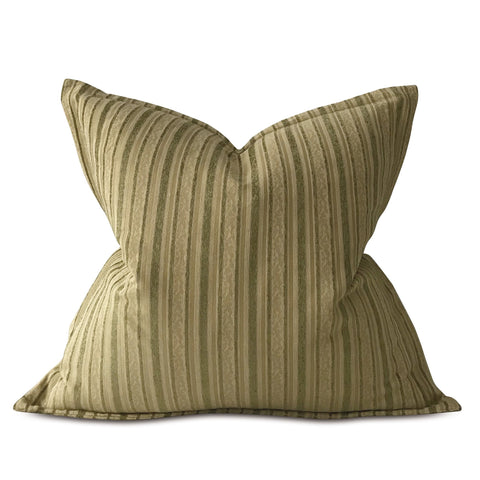 "Sage and Cream Woven Striped Euro Sham Cover 27""x27"""