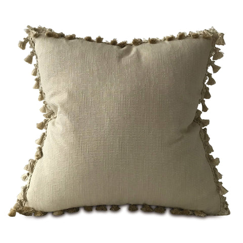"Taupe Textured Throw Pillow Cover with Tassel Trim 22""x22"""