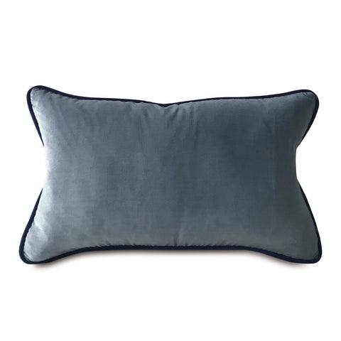 "Baby Blue Velvet Solid Lumbar Pillow Cover with Navy Welt 13""x22"""