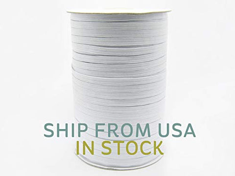 "175 Yards 1/4"" Elastic for Mask Making, White"