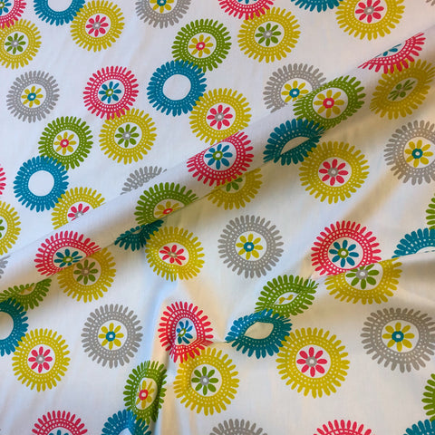 White Tween Floral Cotton Upholstery Fabric 54""
