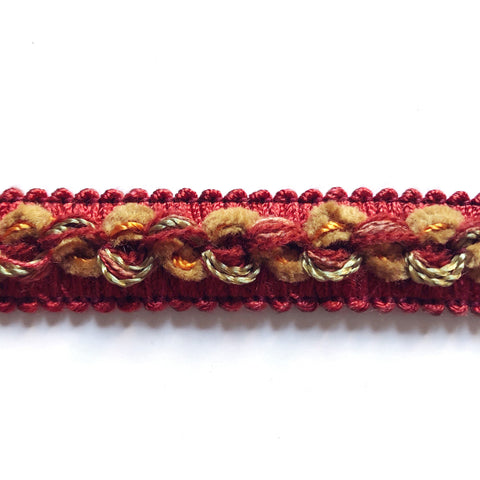 Scarlet and Mustard High Quality Decorative Gimp Trim by the yard